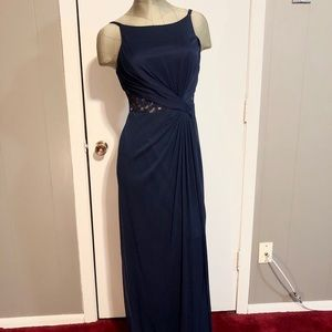 David's Bridal marine blue long bridesmaid dress